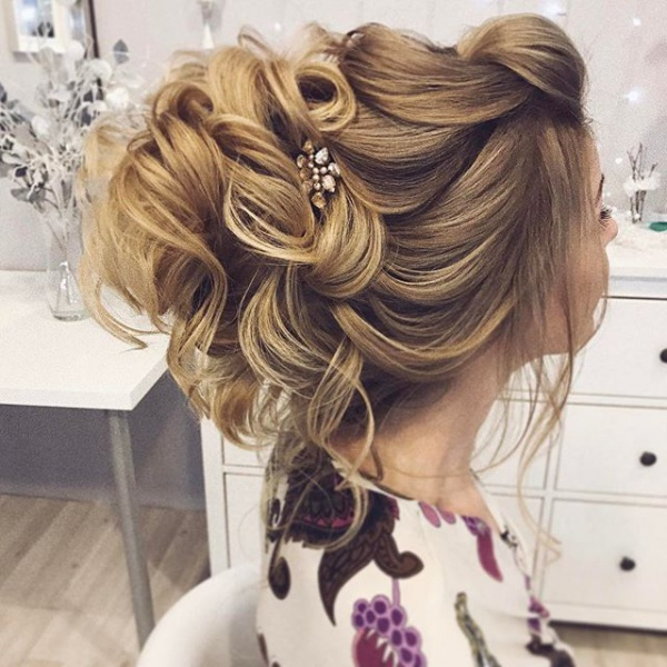 Messy Blonde Bridal Updo Hairstyle