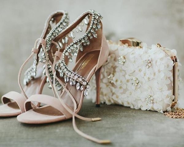Embellished Blush Shoes with Crystals