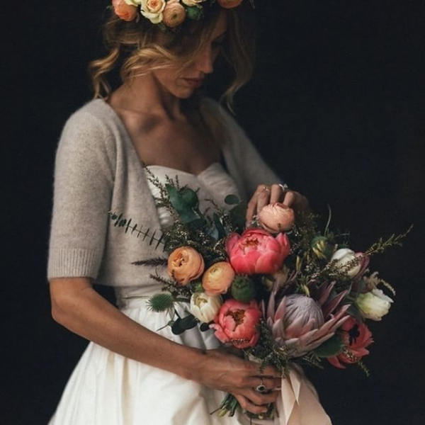 Peony Wedding Bouquet and Bride