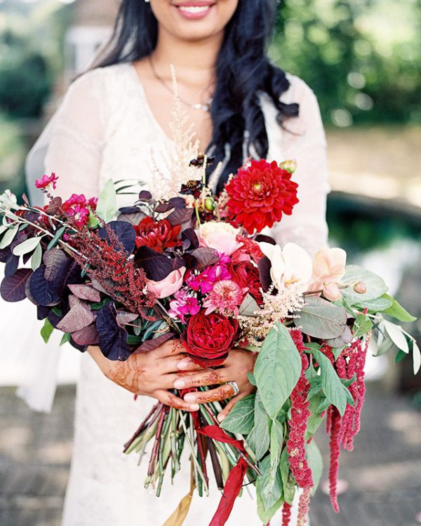 Bright Red Wedding Bouquet