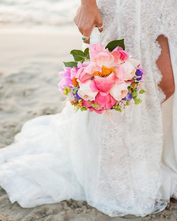 Wedding Bouquet with Cheerful and Bright Flowers