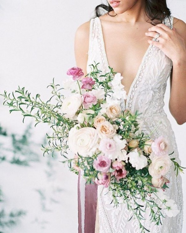Wedding Bouquet with Pink and Ivory Flowers
