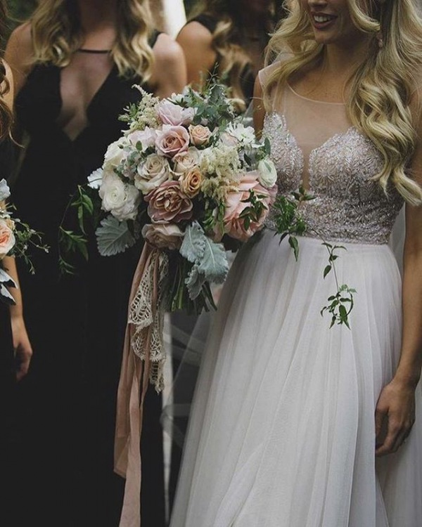 Wedding Bouquet with Pastel Flowers