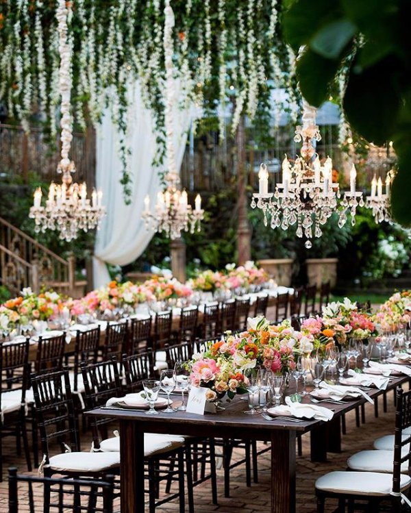 Hanging Chandeliers with Flowers
