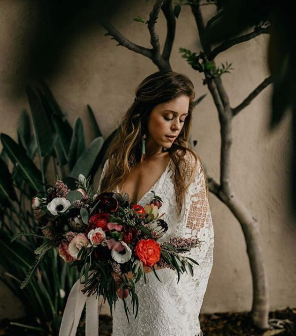 Stunning Autumn Bouquet with White Lace Gown