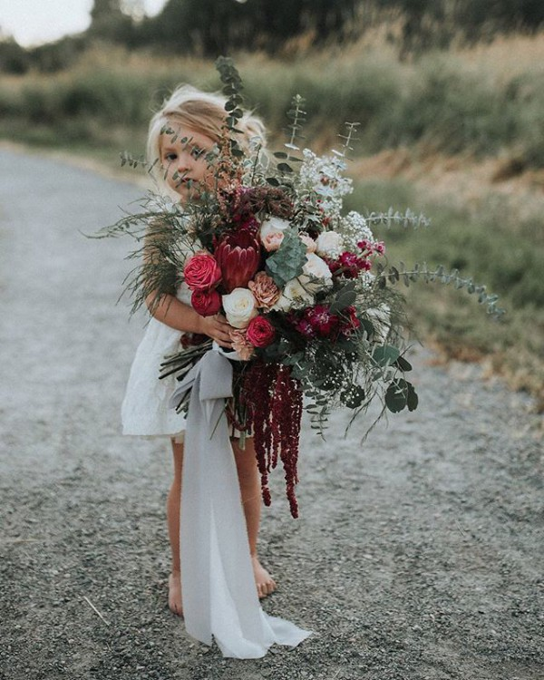Stunning Autumn Bouquet with Flower Girl