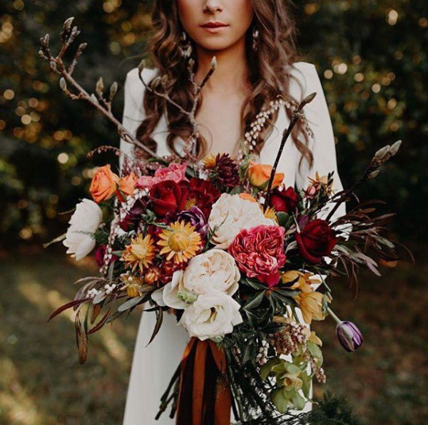 Stunning Autumn Bouquet with Greenery and Bold Flowers