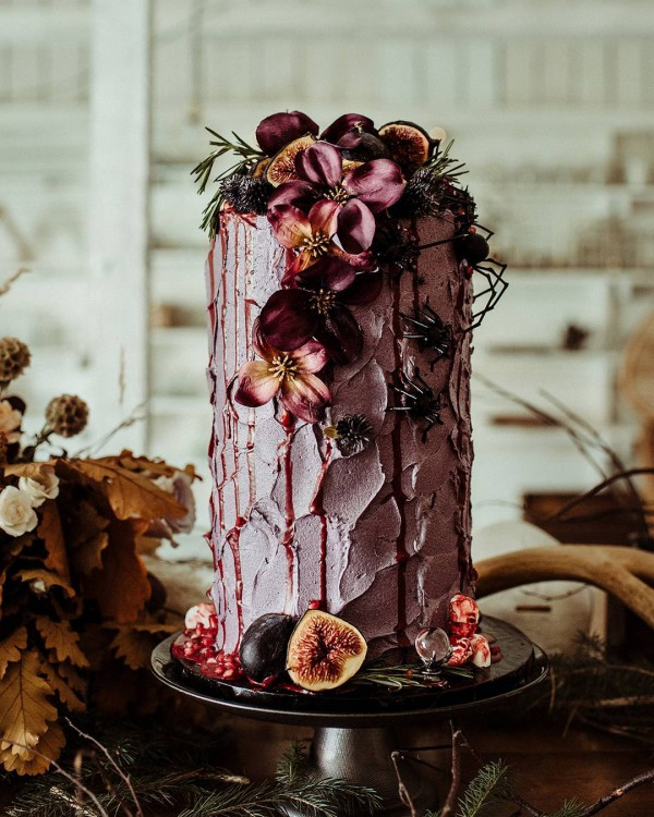 Rustic Fruit and Pink Wedding Cake
