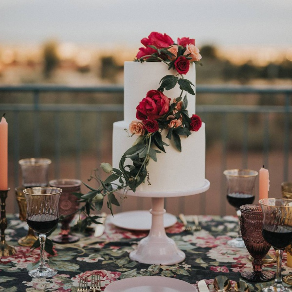 Red and White Wedding Cake with Flowers