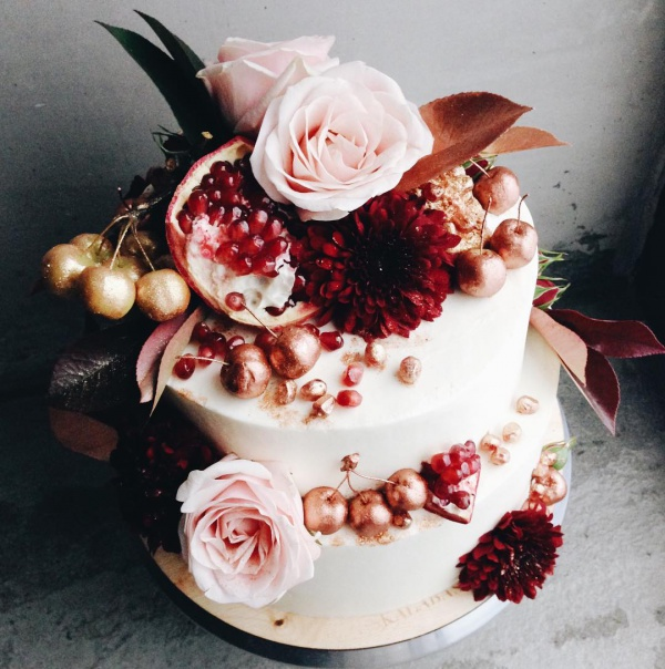 Cream and Pink Wedding Cake with Fruit