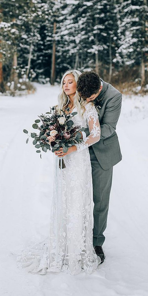 Winter Wedding Couple Long Sleeve Dress
