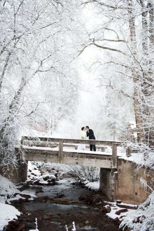 Winter Wedding with Couple on Bridge