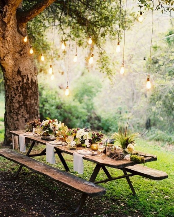 Outdoor Dining Tablescape in Garden