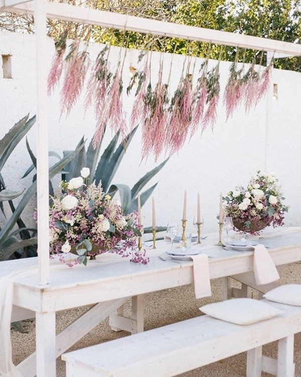 Outdoor Dining with White Accents and Blush Hanging Florals