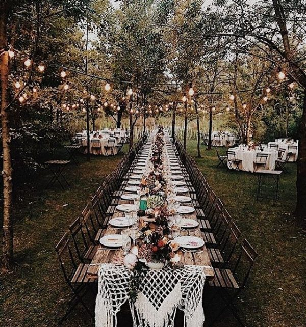 Outdoor Dining Tablescape Farm Style with Lights