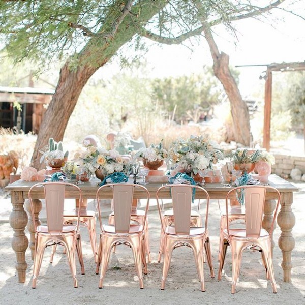 Outdoor Dining Tablescape with Pink Himalayan Salt and Copper Chairs