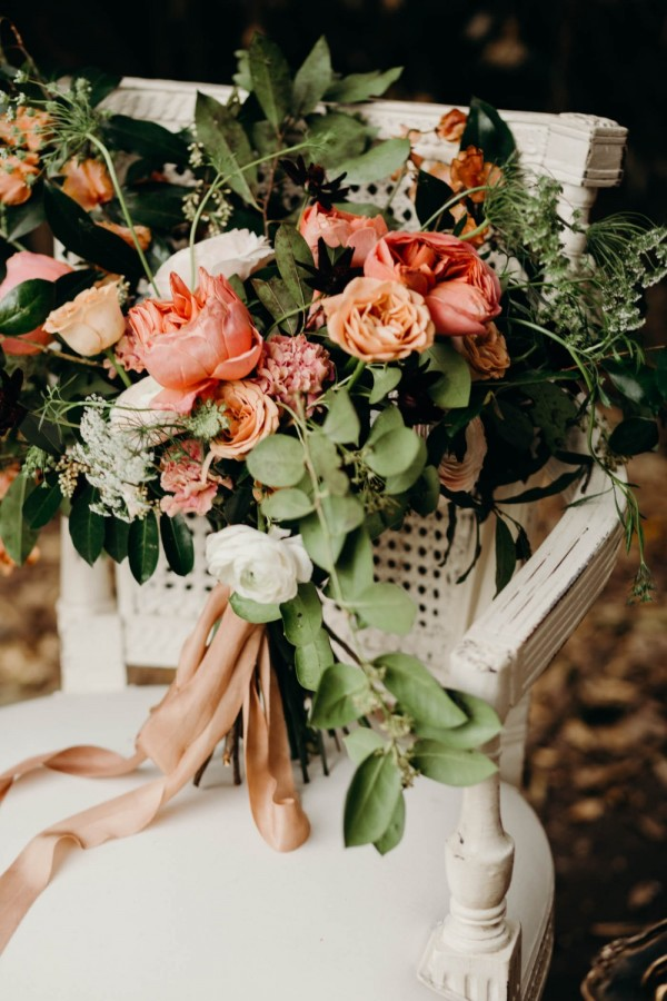 Spring Flower Wedding Bouquet with Peach Tones