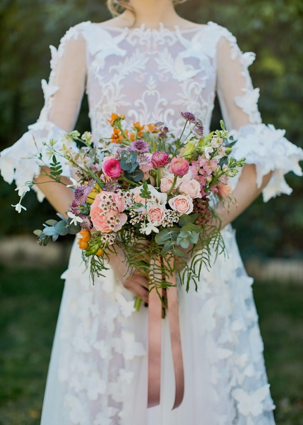 Spring Floral Wedding Bouquets with Bright Tones and Bride.