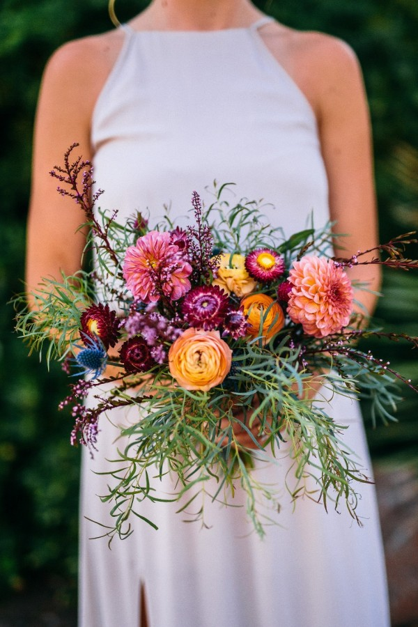 Spring Wedding Bouquet with Rustic Flowers