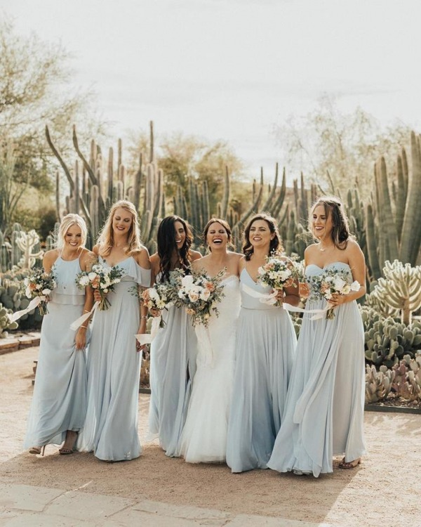 Bride with Bridesmaids in Pastel Blue Dresses