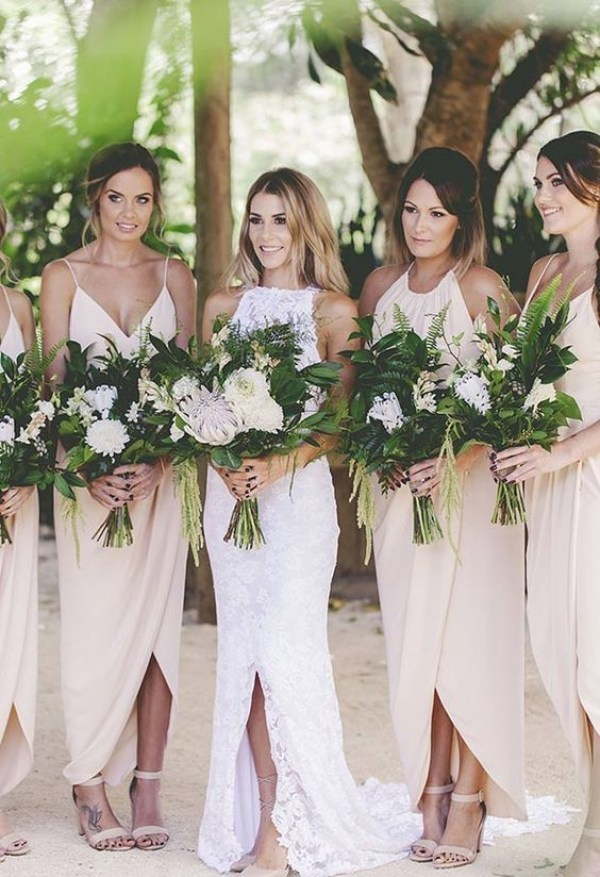 Bride and Bridesmaids in Nude Tone Dresses