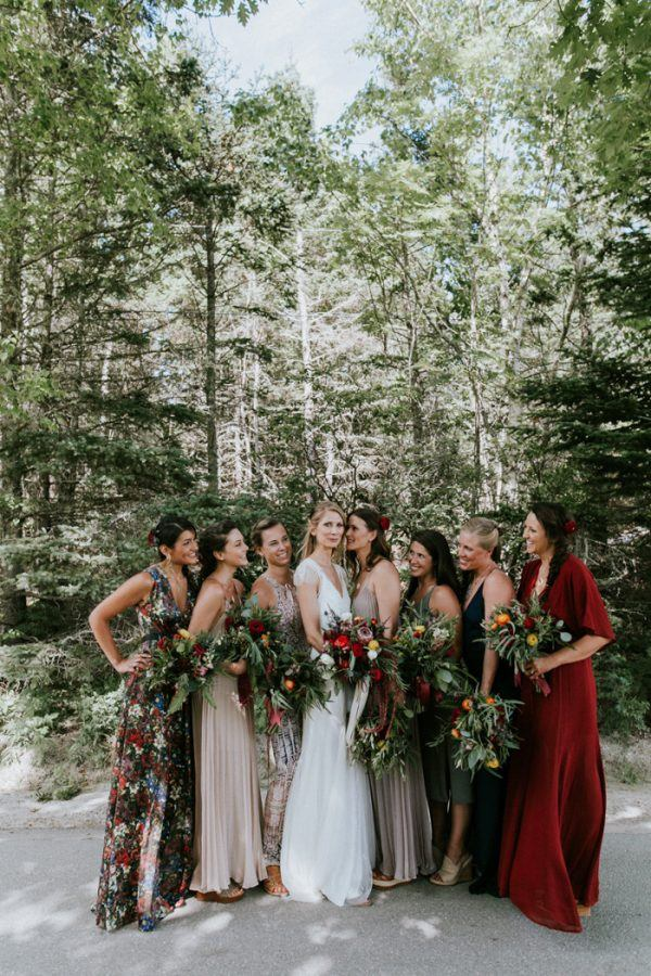 Bridesmaids in Jewel Tones Dresses
