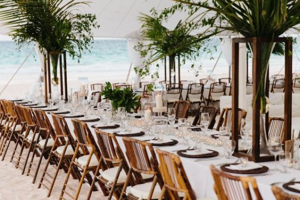 Tropical Beach Wedding Reception Tablescape