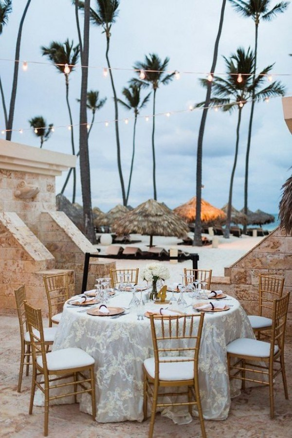 Beach Wedding Reception - Tables
