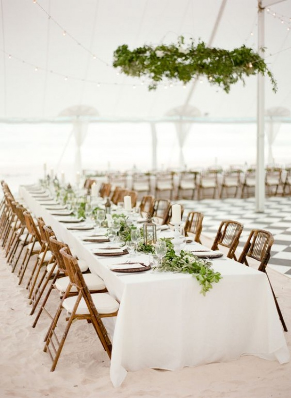 Beach Wedding Reception All White