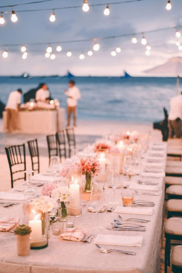 Beach Wedding Reception with Lights