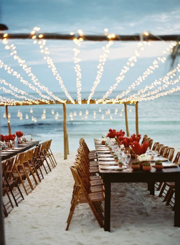 Beach Wedding with Lights