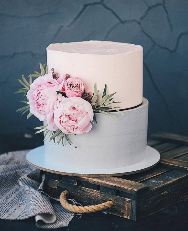 Wedding Cakes with Flowers and Two Tiers