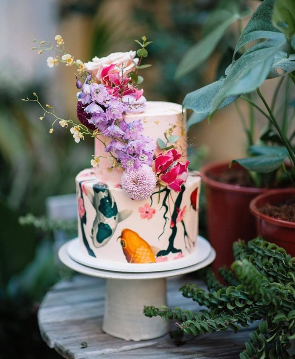 Wedding Cake with Watercolor Style