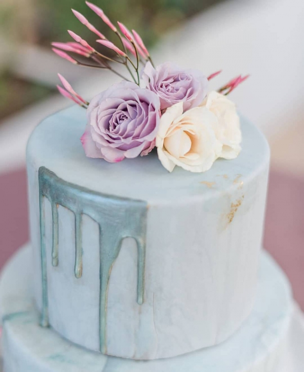 Wedding Cake with Drips and Flower Accents
