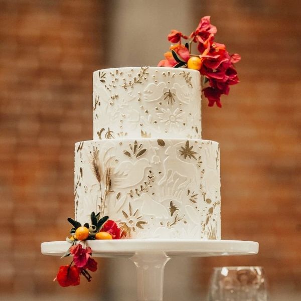 Wedding Cake with Flowers and Mexican Inspired Flowers.jpg
