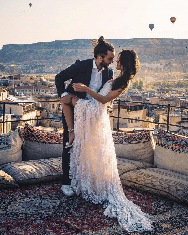 Wedding Dress with Lace and Backdrop View