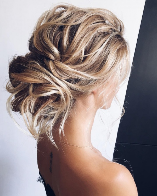 Messy Bridal Updo on Blonde Hair
