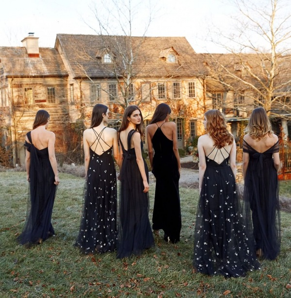 Long Bridesmaid Dresses in Black