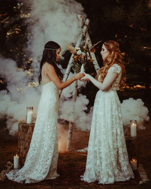 Gothic Inspired Wedding with White Smoke