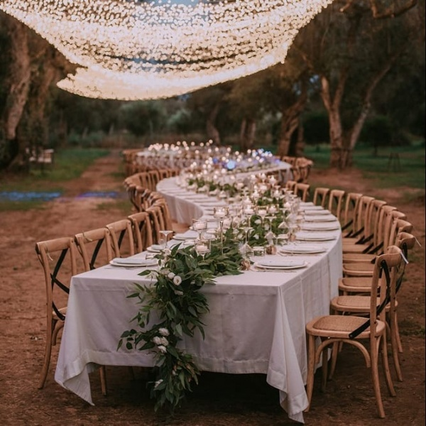 Romantic Lighting over Table Setting