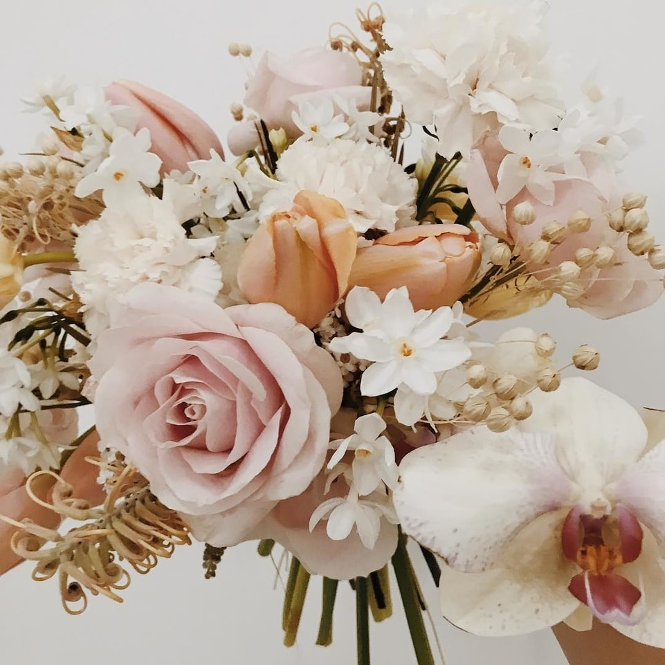 Spring Flower Bouquet with Blush and Peach Tones