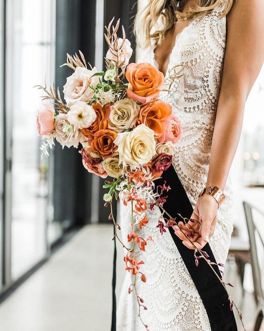Spring Wedding Bouquet with Orange Tones