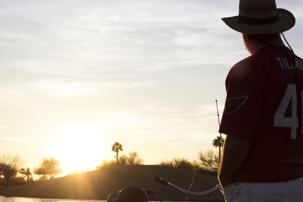 Tom Cooper, 66, of Phoenix, Ariz. fishes at Indian School Park in downtown Phoenix.