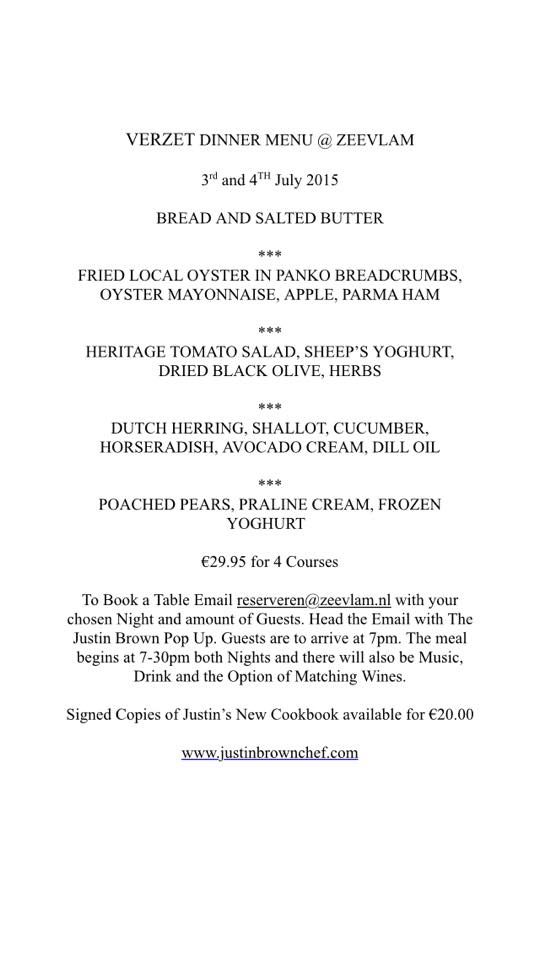 Menu Justin Brown @ Zeevlam