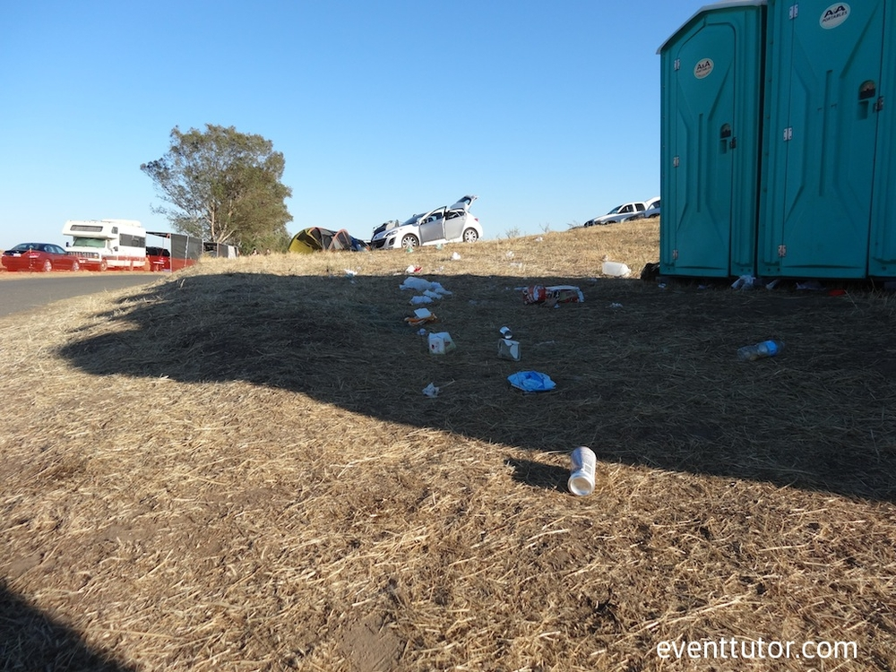 Toilet trash at festivals