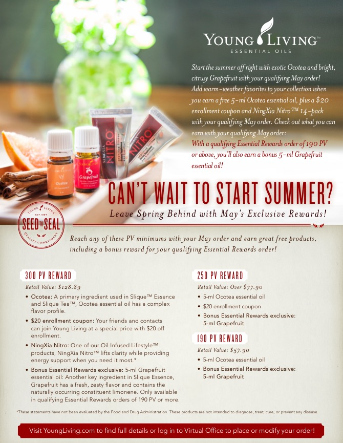 Greet summer by earning exclusive rewards including Ocotea essential oil, Grapefruit, $20 enrollment coupon & NingXia Nitro.