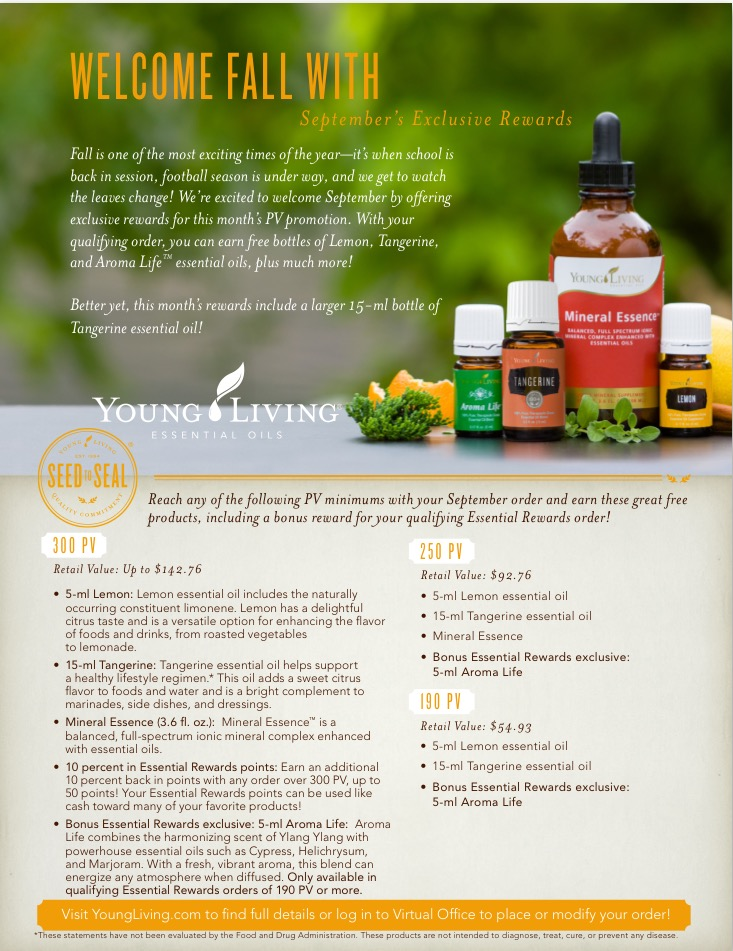 Fall is here, and so is the Young Living September promotion. Earn Lemon and Tangerine essential oil and more with your qualifying purchase!