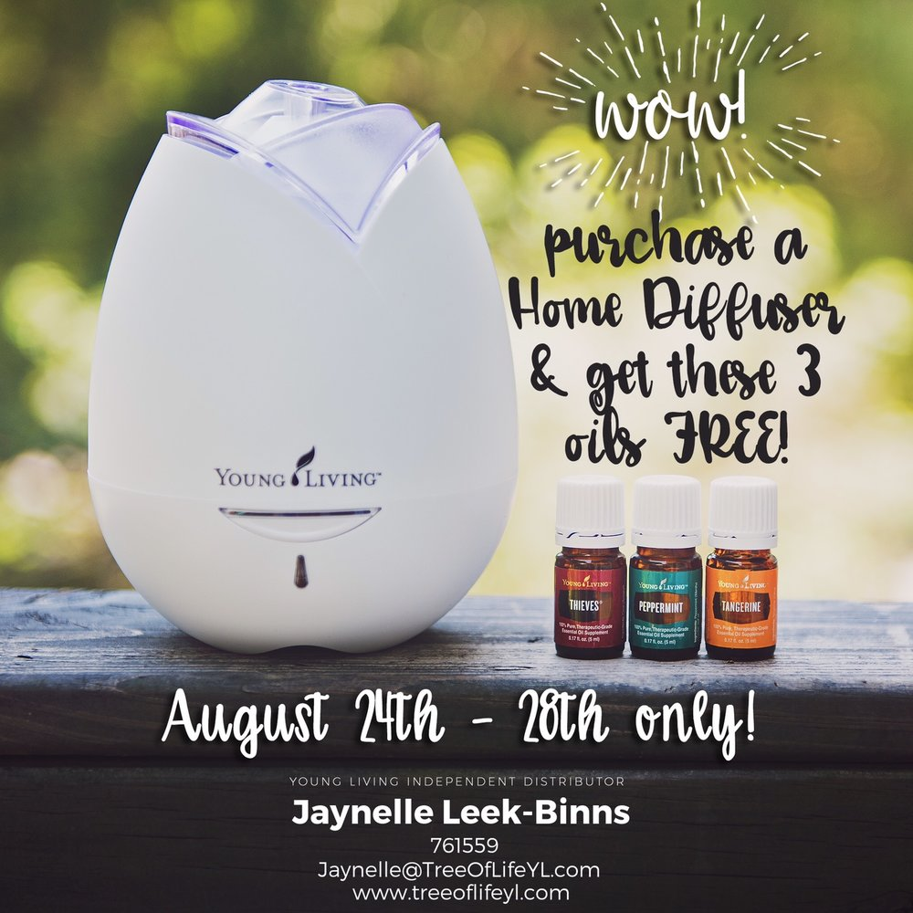 Buy a Home Diffuser by August 28, 2016 and get Peppermint, Tangerine and Thieves with your purchase.