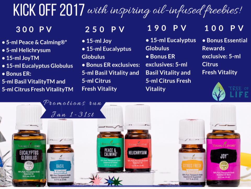 Happy New Year to you! Earn these 6 oils with your qualifying purchase.   Bonus Resolution Tip: Try cooking more at home with Basil Vitality!