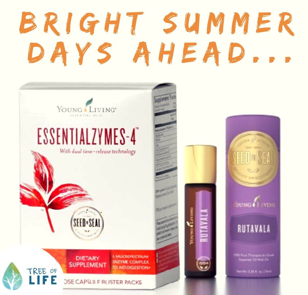Essentialzymes-4 and RutaVaLa roll-on are grab-and-go summer favs. Find out how (and why) to use them today!